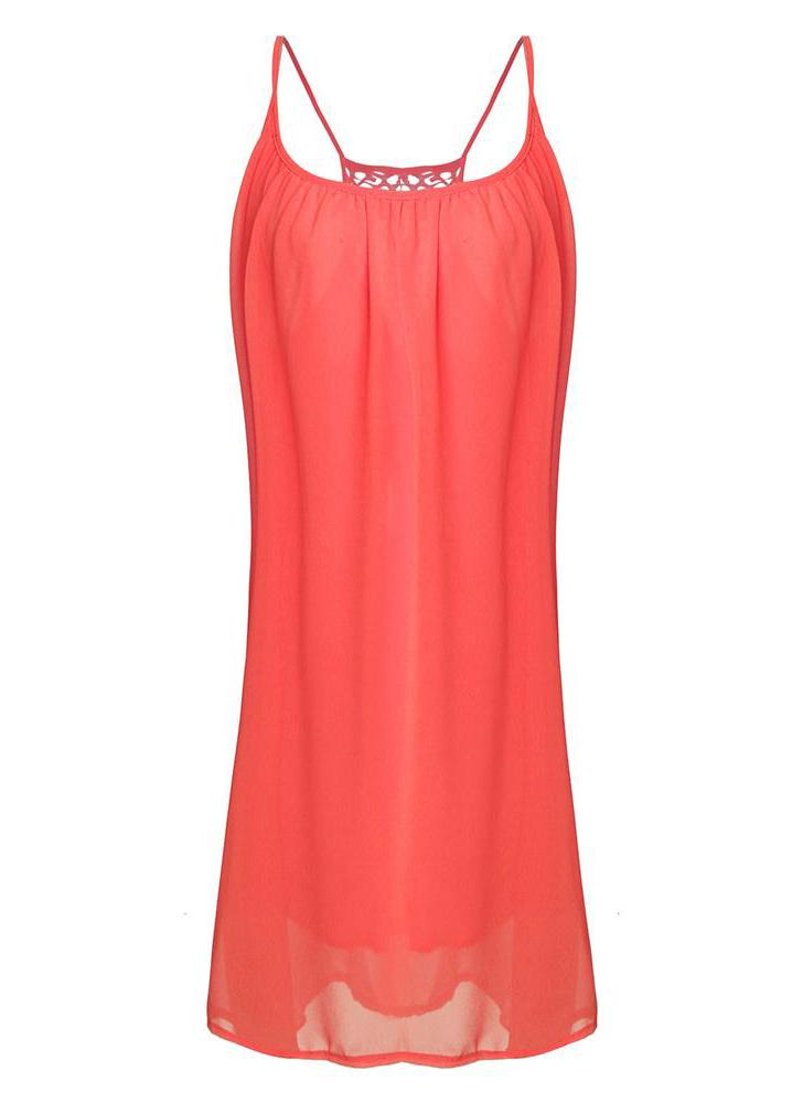 Casual Sexy Women Summer Backless sin mangas fiesta de noche vestido de gasa corto Mini Casual Loose Beach