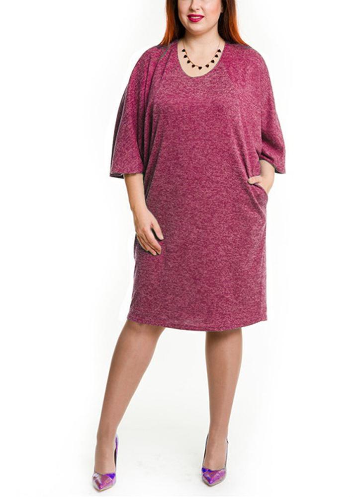 Women Plus Size Dress Pocket O Neck Casual Loose Dress Big Size Elegance  Dress fd81ece278e6