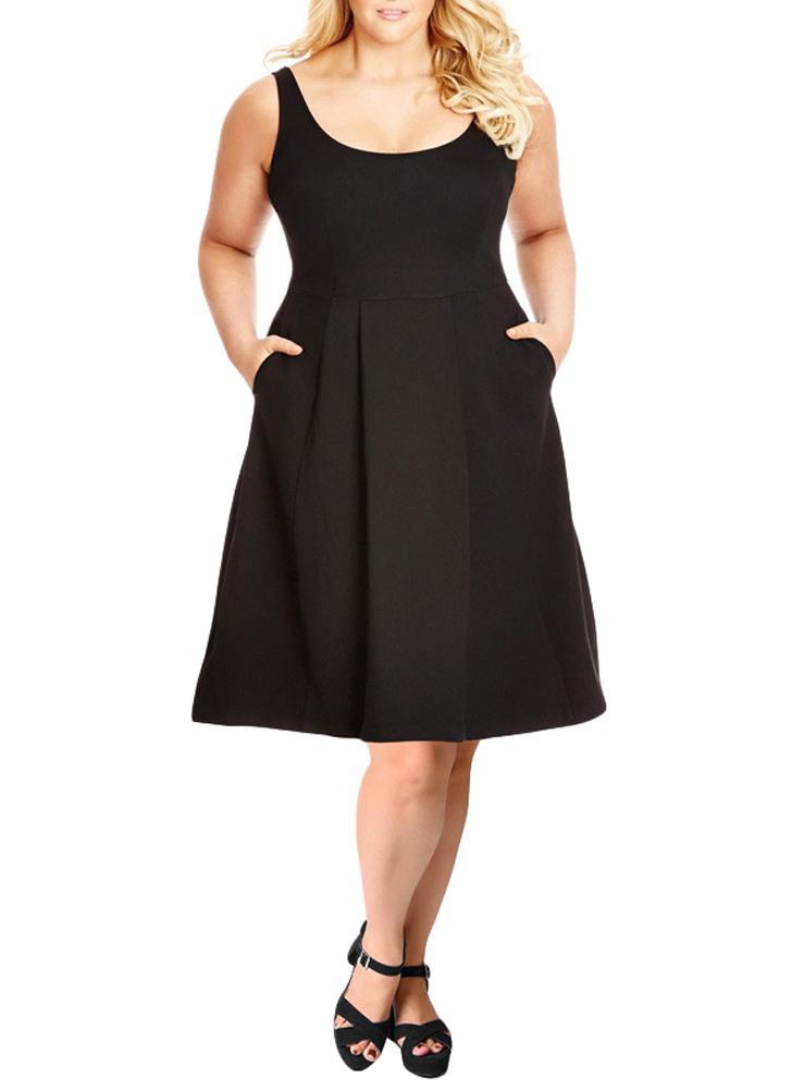 Black 3xl Women Plus Size Tank Dress Solid Swing Dress A Line Casual