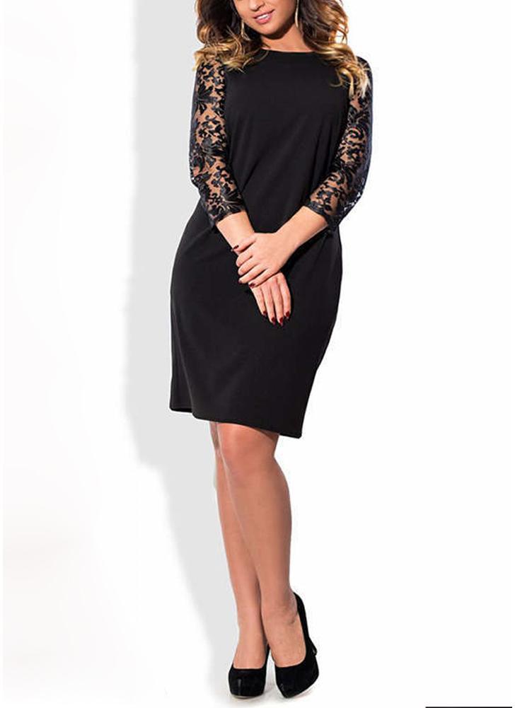 Donne Plus Size Dress Pizzo floreale Tasche a tre quarti Tasche Mini Big Size Eleganti Partywear da ufficio