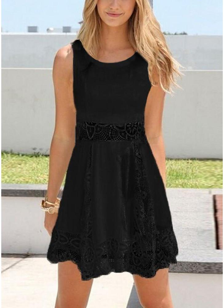 Women Lace Mini Dress Sleeveless Hollow Out Solid Color Slim Elegant Dress