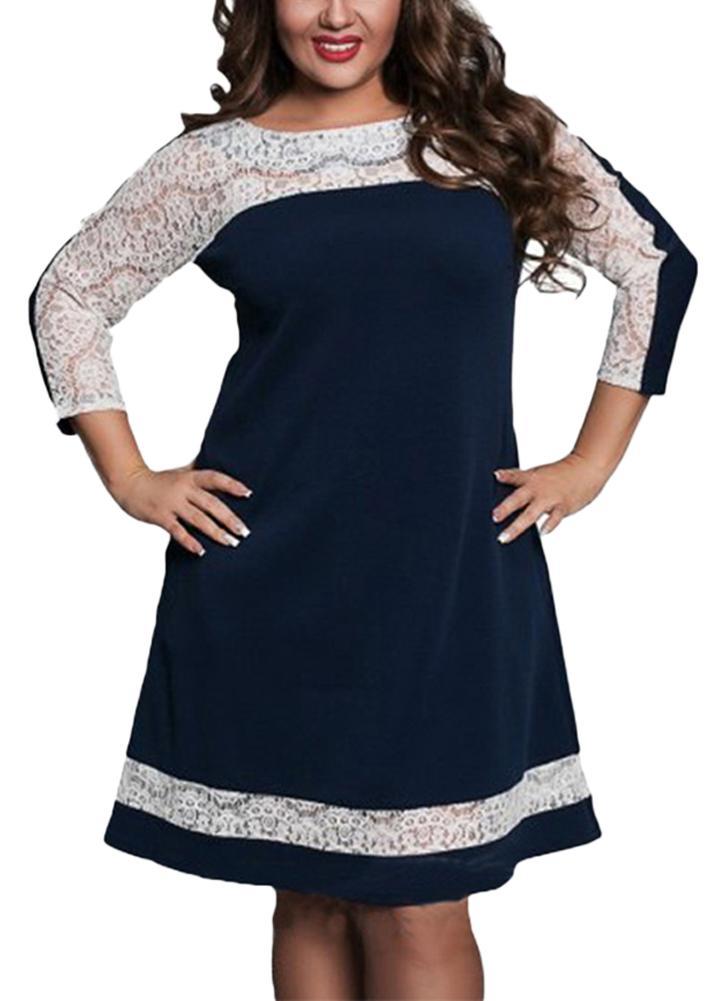 Dark Blue 2xl Women Plus Size Dress Semi Sheer Lace Mesh Splice