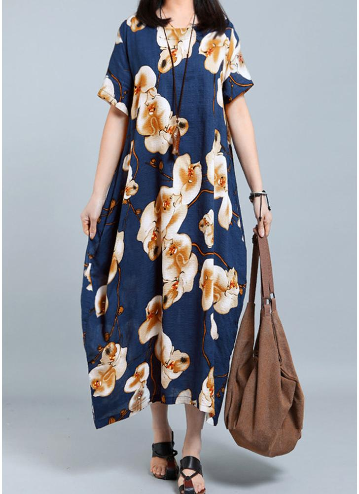 Women Plus Size Floral Print Loose Bolsas de manga curta Oversize Long Dress