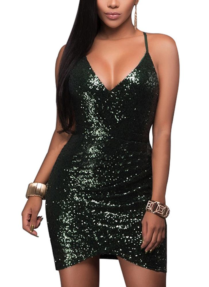 Sexy Women Deep V Neck Sequin Bodycon Dress Hollow Out Back Zip Party Club  Strappy Mini e00b7474f146