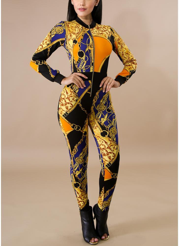Mujeres atractivas Jumpsuit Contraste Bloque de color Cadena de impresión de manga larga Clubwear