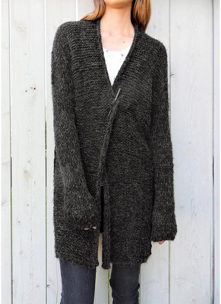 0efb15f54e9133 Women Knitted Cardigan Coat Open Front Long Sleeves Dropped Shoulder Loose  Outwear