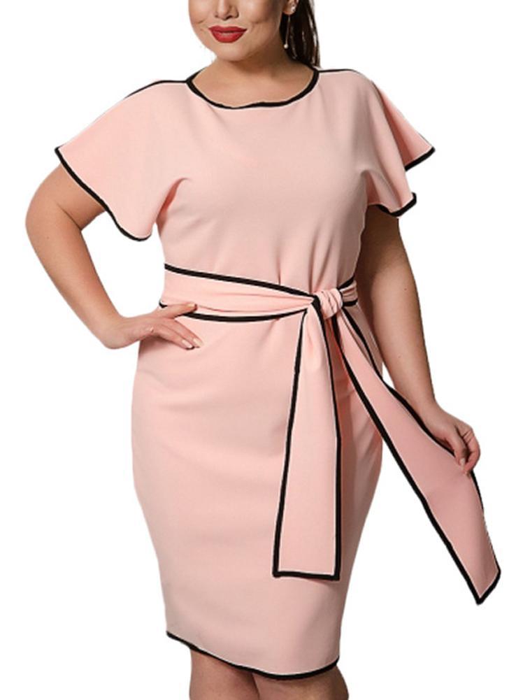 l rosado Vestido de ajuste de contraste de la manga de la mariposa ...