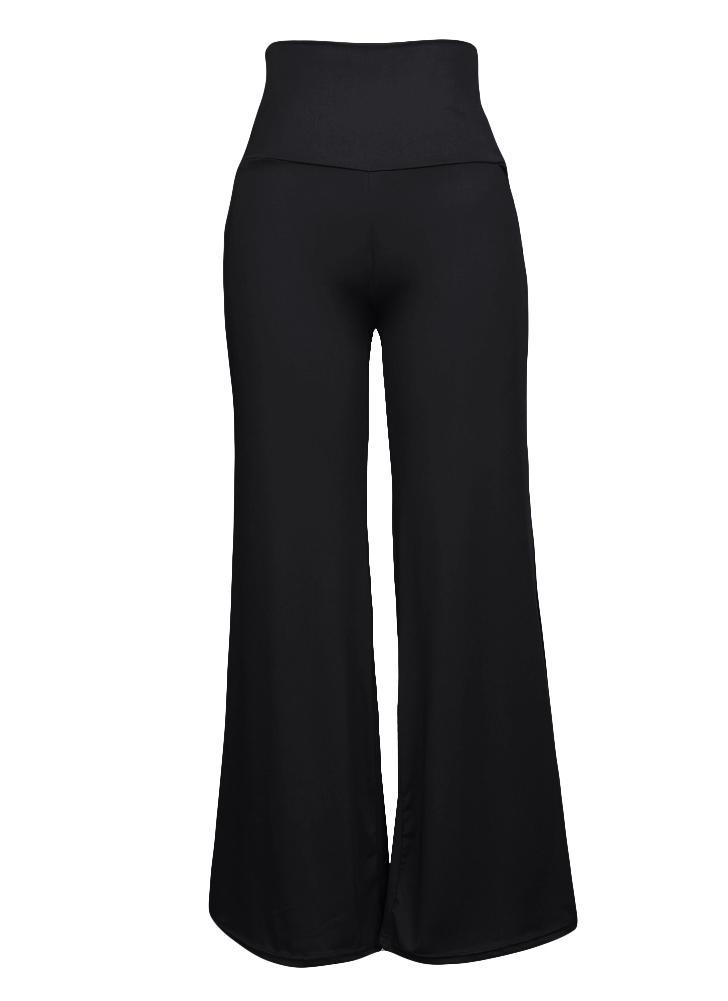 Pantalones de pierna ancha de cintura alta para mujeres ocasionales  Pantalones de pierna con cremallera lateral 50a53ca2e751