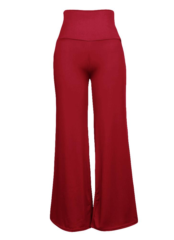 Casual Women High Waist Wide Leg Pants Side Zipper Yoga Trousers