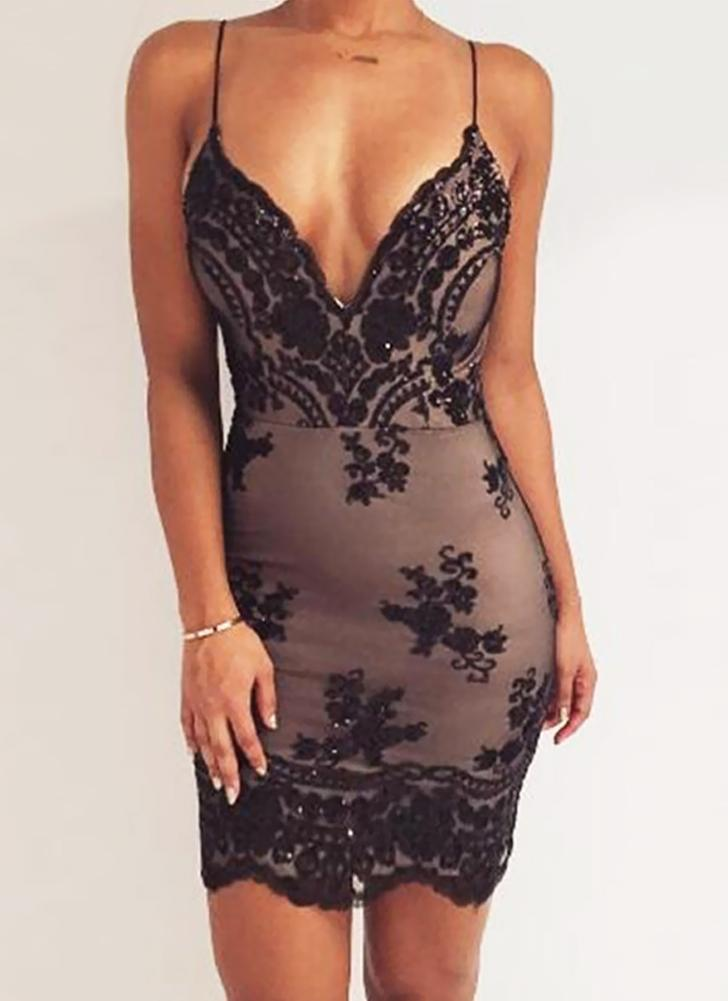 Sexy Women Sequined Deep V Neck Backless Bodycon Spaghetti Strap Dress