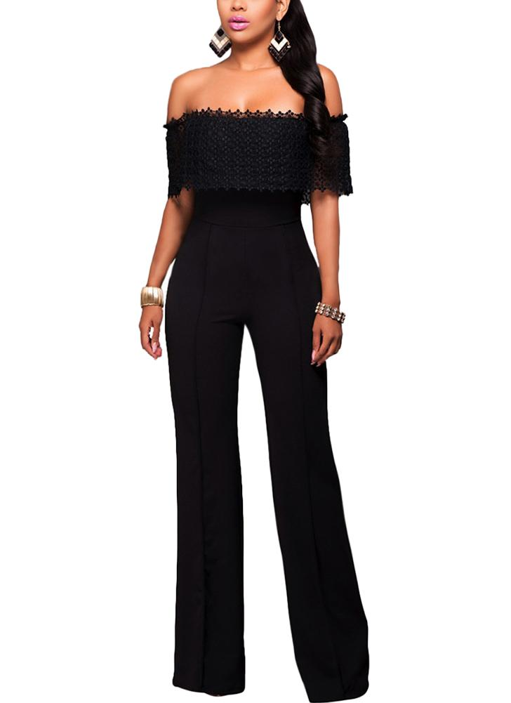 Black L Sexy Women Jumpsuit Off The Shoulder Crochet Lace