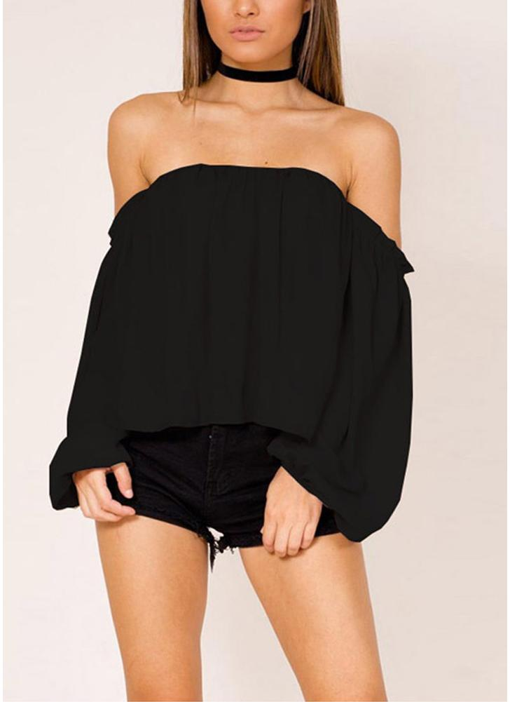 Sexy Women Off-the-Shoulder Chiffon Blusa Lanterna manga comprida casual camisa sólida Tops
