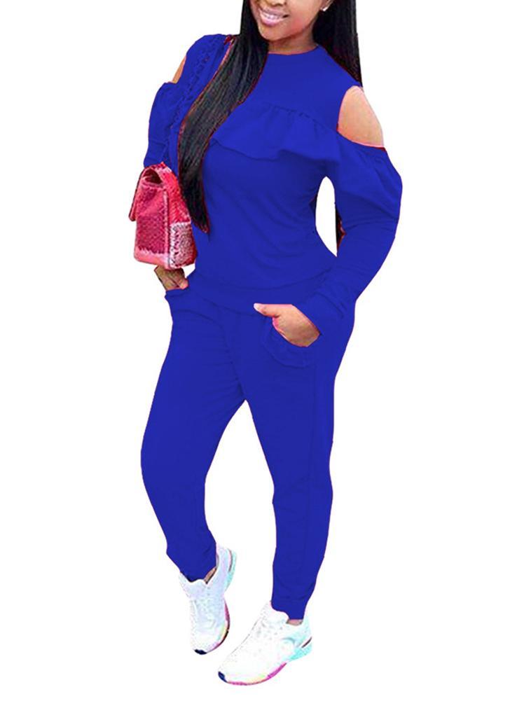 Conjunto de dos piezas para mujer con hombros descubiertos y manga larga con volantes