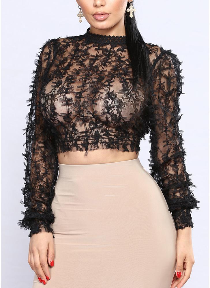 Blusa delgada de malla de manga larga con cuello alto de mujer