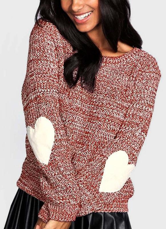 Pullover a maniche lunghe in maglia a maniche lunghe a maniche lunghe con gomito in maglione lavorato a maglia