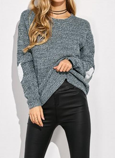 Women Loose Knitted Sweater Elbow Heart Patch Solid Long Sleeve Knit Pullover