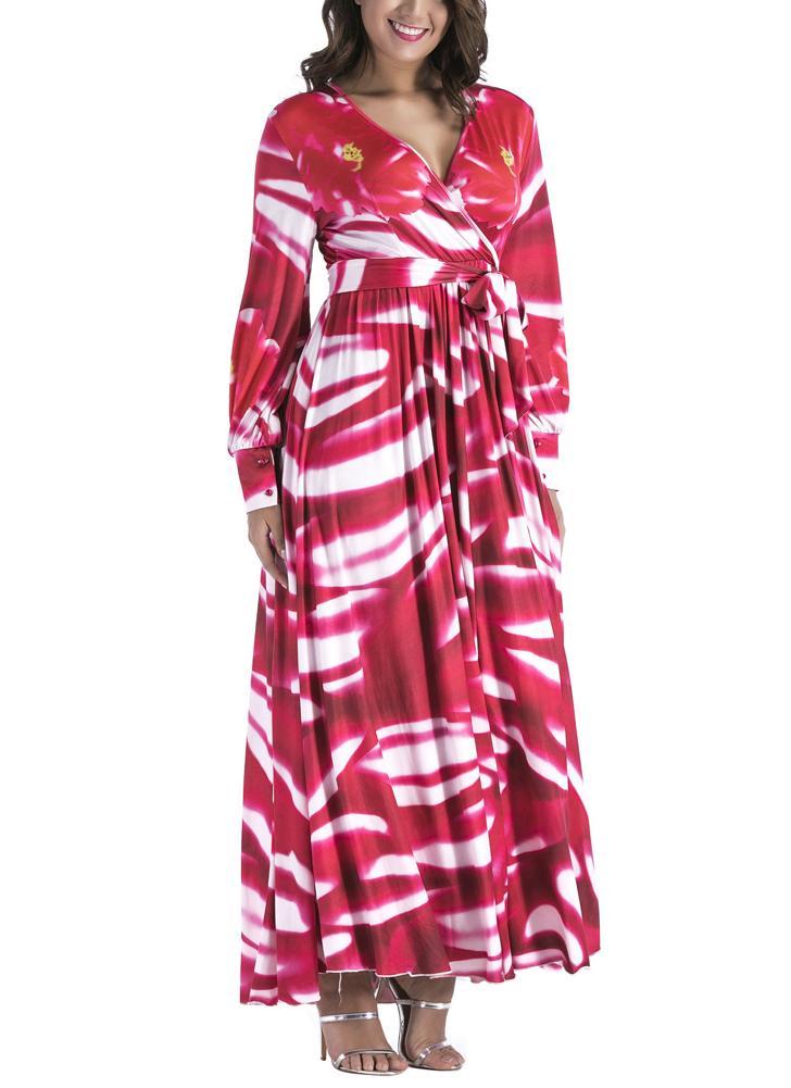 c787f9ebef18 Frauen Plissee in Print V-Ausschnitt Langarm Maxi-Kleid mit hoher Taille