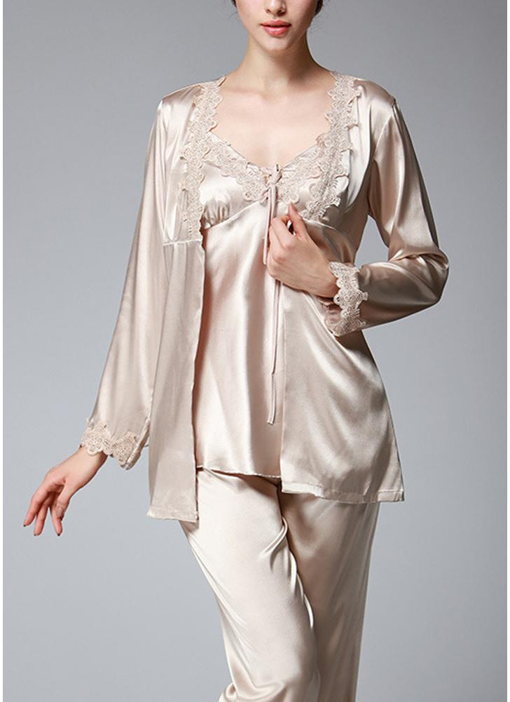 khaki 2xl Women Silk Satin Night Robe Set Badydoll Pants Kimono ...