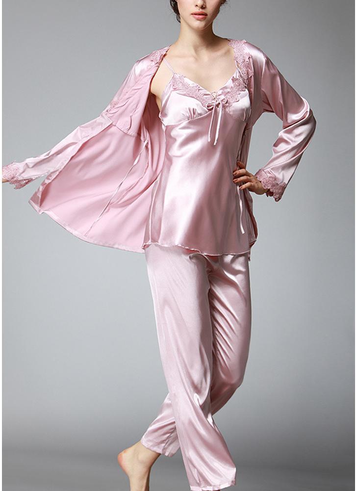 Женская одежда Silk Satin Night Robe Set Баддиллолл Брюки Кимоно Халат Nightgown