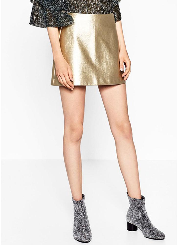 Falda para mujer PU Metallic Mini A-Line Cremallera lateral