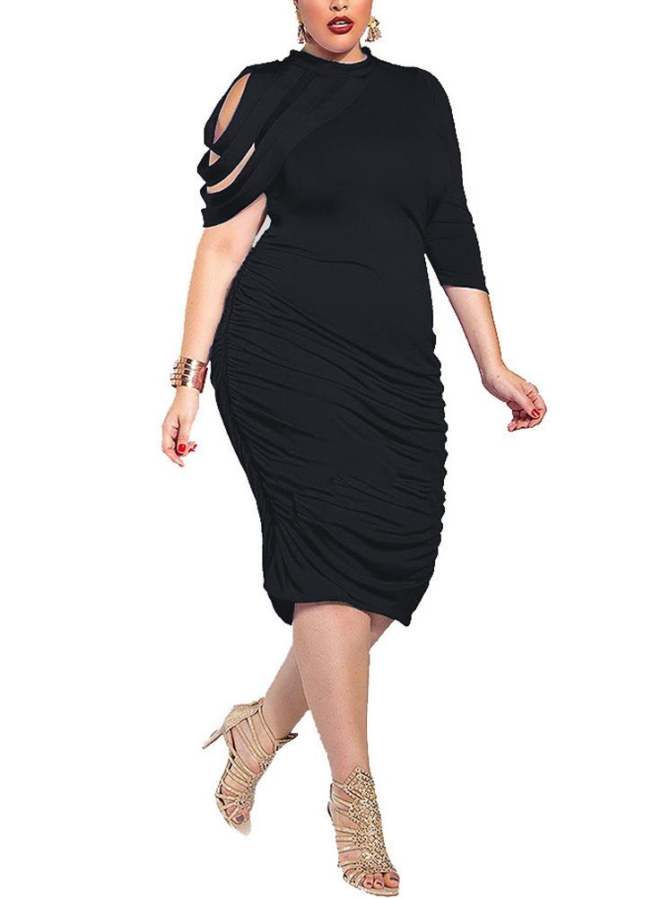 Large Size High Neck Bandage Ruched Solid Bodycon Dress
