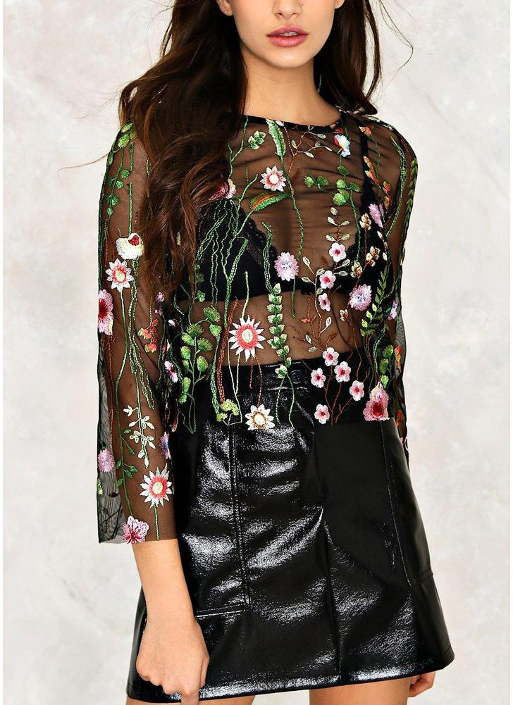 Sheer Mesh Floral Embroidered Loose Cropped Blouse
