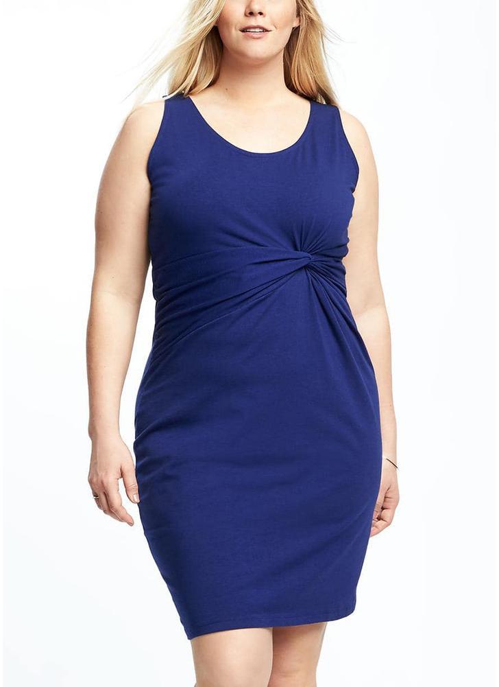 Vestido de tamanho grande para mulheres sem mangas Twist Casual Vestido de lápis sólido