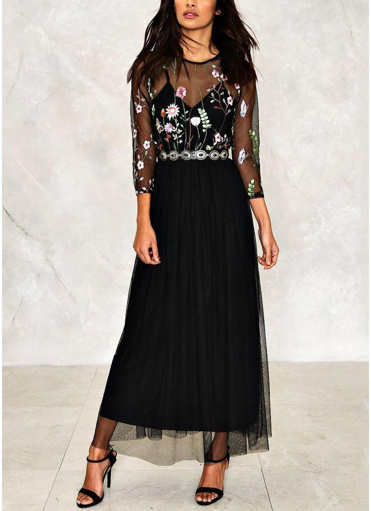 Sheer Mesh Floral Floral Maxi robe femmes robe