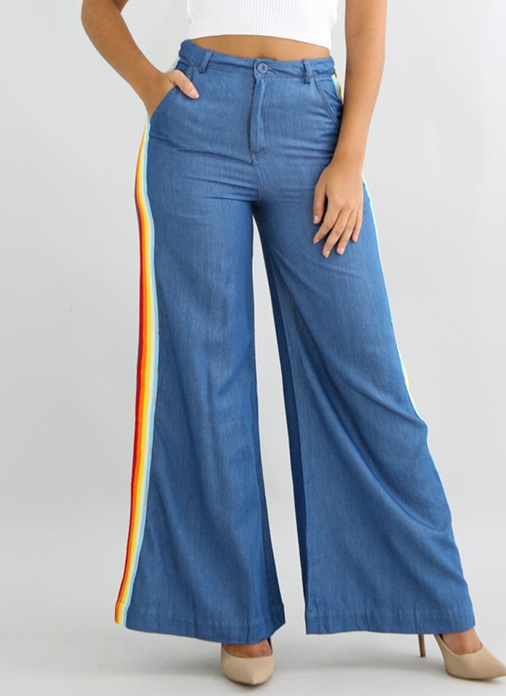 Vaqueros anchos de las mujeres Pantalones vaqueros ocasionales rayadas de la cintura alta del arco iris