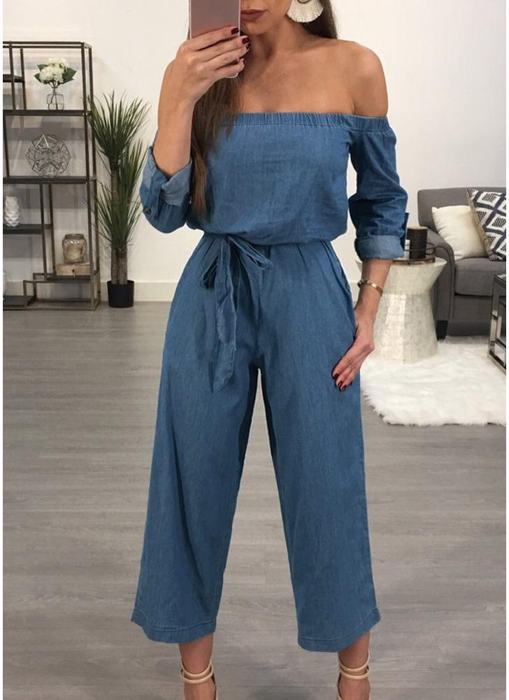 Off the Shoulder Denim Belted Wide Leg Pants Long Mulheres Combatente