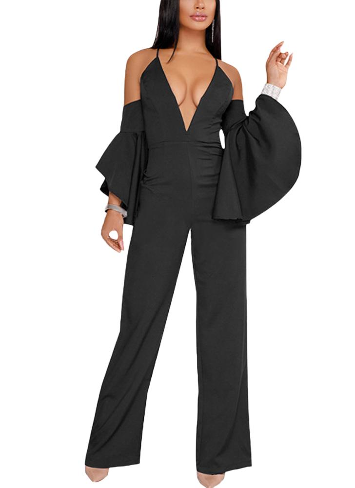 Femmes Jumpsuit Barboteuses Deep V-Neck Flare Sleeve Off the Shoulder Combishort