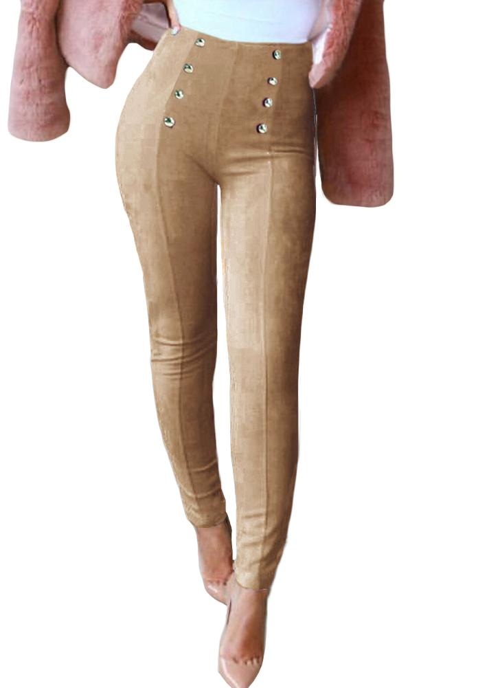 Elegant Faux Suede Solid Color Button Side Zipper Women's Leggings