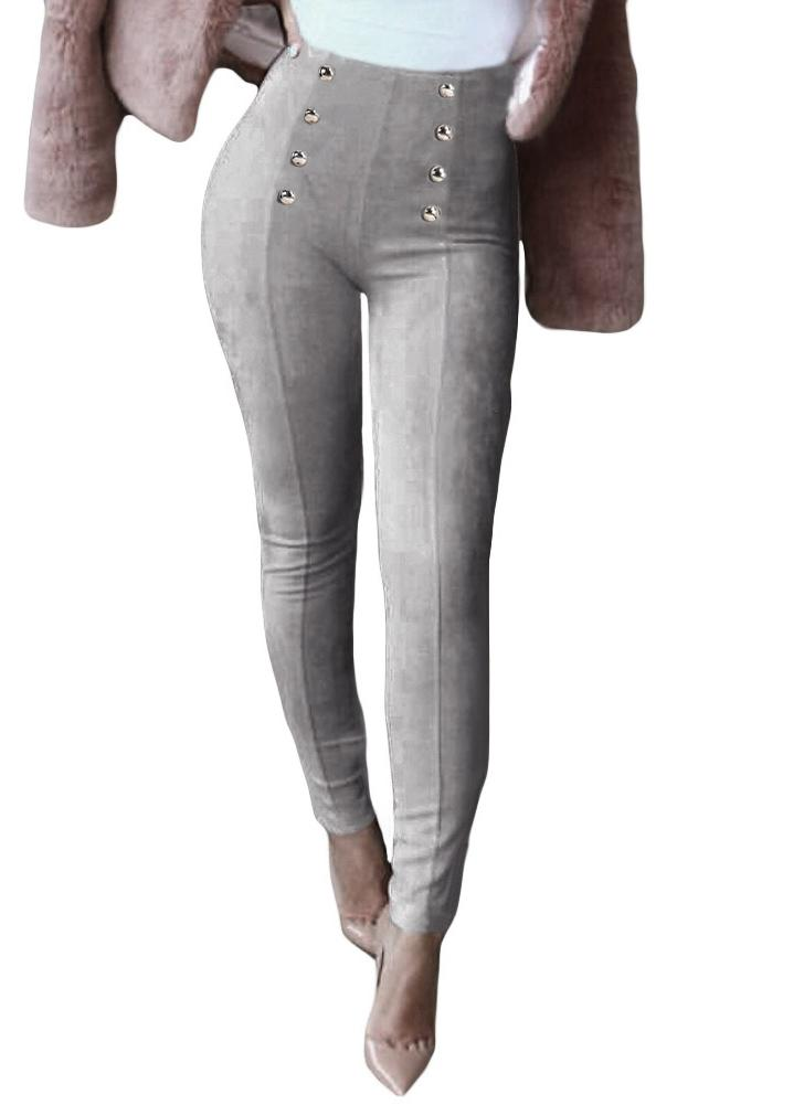 Femmes Sexy Slim Faux Suede Leggings Pantalons Boutons solides Side Zipper Elégant Pantalon Fitness Skinny Crayon