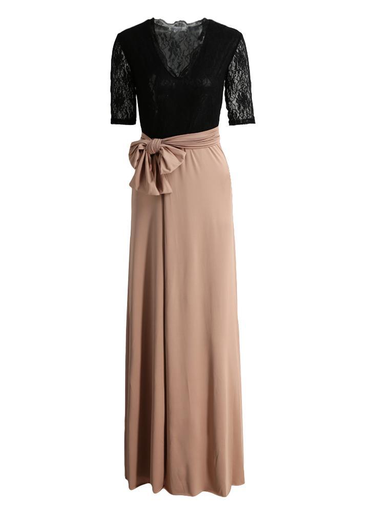 Neue Art und Weise Frauen-Maxi-Kleid-Spitze Splice Oberschenkel Split V  Ansatz
