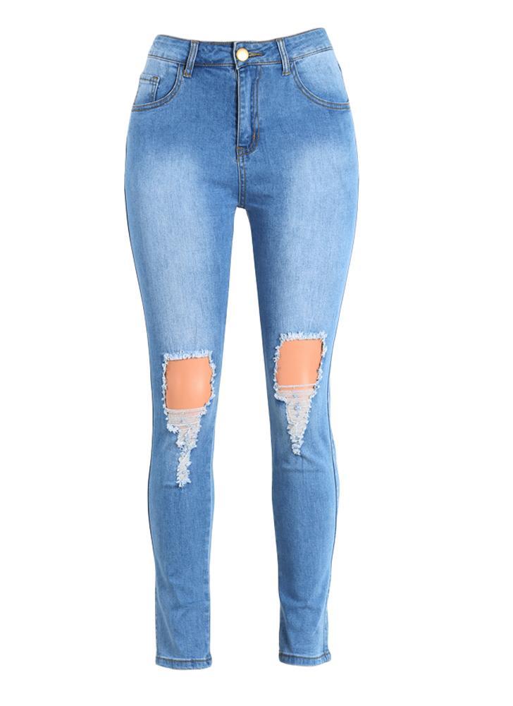 689f9a4fbdc0 Jeans Femmes Sexy taille haute Ripped Détruits Pantalon effilochée Trou  Zipper Fly Skinny Denim Pencil Pantalon