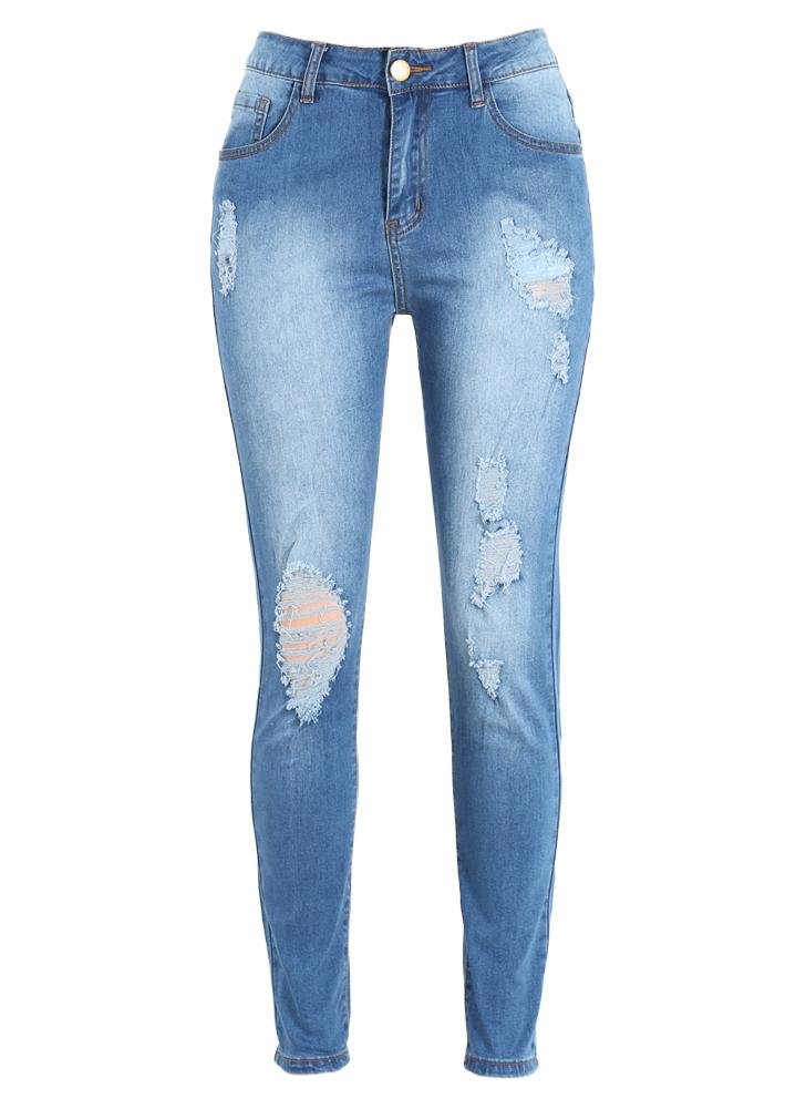 Denim Jeans Ripped Détruit effiloché trou Washed Pantalon Zipper Skinny