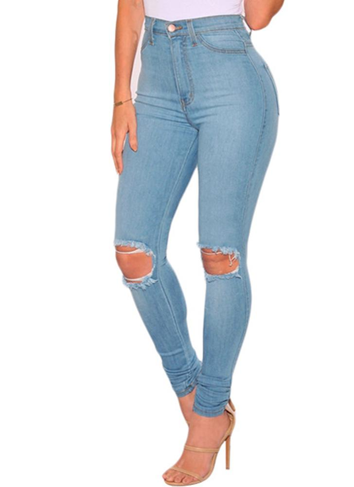 Women Washed Jeans Denim Destroyed Frayed Hole Zipper Pockets Pants Skinny Pencil Trousers Tights Blue