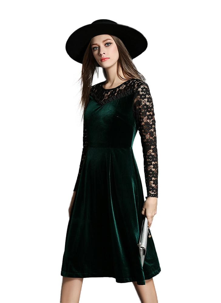 Velvet Lace Floral Hollow Out Ruffle Back Zip Long Sleeve A Line Dress
