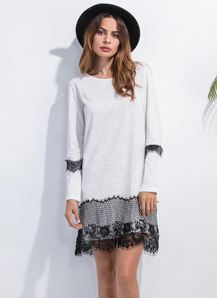omen Lace Dress Neck Long Sleeves Straight Mini Shift Dress Black/Grey/White