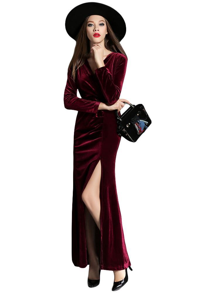 Las mujeres DressHigh Partido profunda división atractivo vestido de noche  verde oscuro   Borgoña ef5e1786c18e