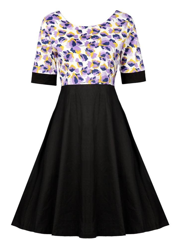 d0893a4c6500 Runder Nacken Rücken Reißverschluss Hohe Taille Party Rockabilly Swing  Vintage Kleid