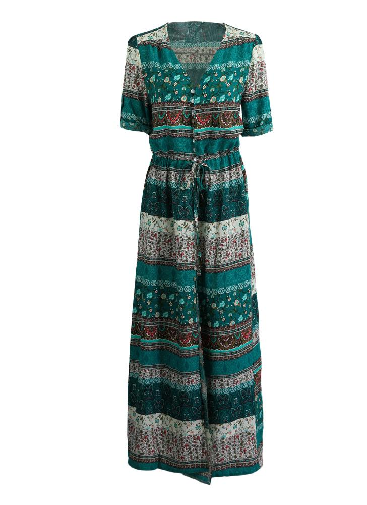 Moda Feminina Imprimir V Neck Botão Split Long Boho Dress