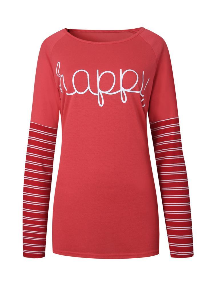 Femmes T-shirt à rayures Happy lettres Imprimer col rond manches longues en  vrac Plus 6f61ea22964