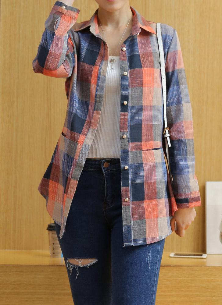Plaid Rolled Sleeve Irregular Hem Button Plus Size Long Shirt