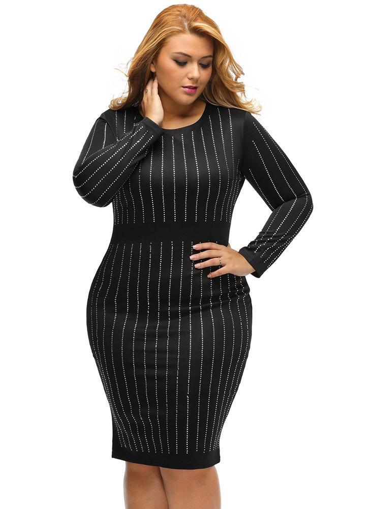 Black Xxl Plus Size Rhinestone Stripe Round Neck Bodycon Midi Dress