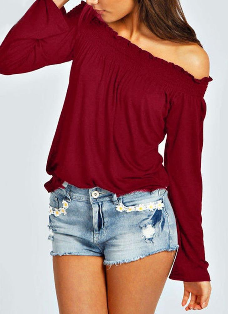 Blouse Elastic Off Shoulder Long Sleeve Solid Color Casual T-Shirt Tops Tee