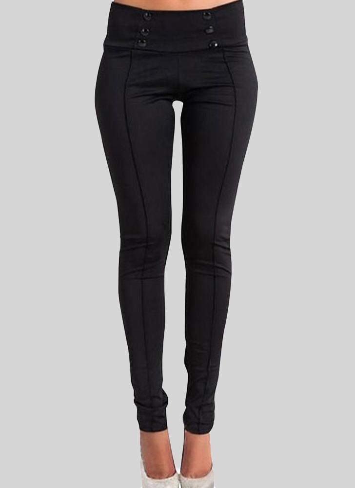 Pantalones delgados elásticos de cintura baja Botones BodyCon flaco lápiz de las polainas