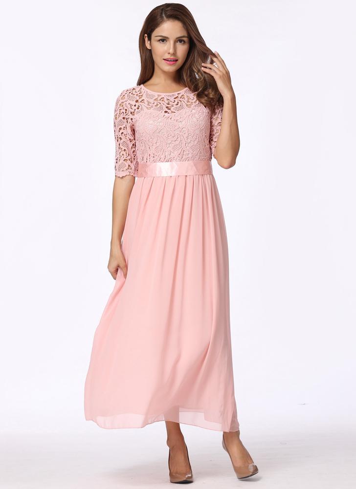 Lace Chiffon Half Sleeve Slim Long Gown Elegant  Evening Party Prom Dress