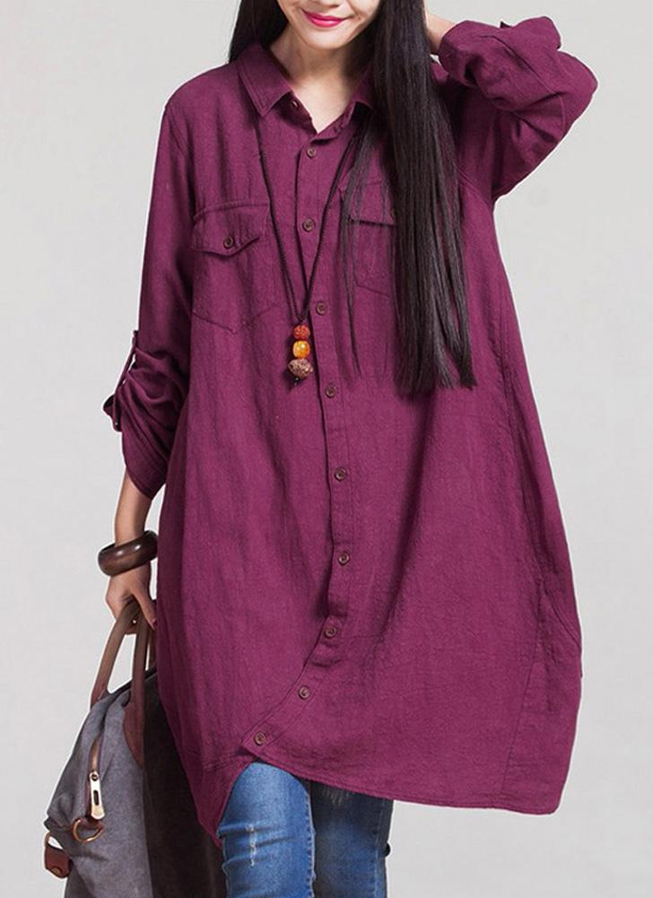 Linge Longue Blouse Irregular Hem Buttons Loose Casual Vintage Top Shirt Dress