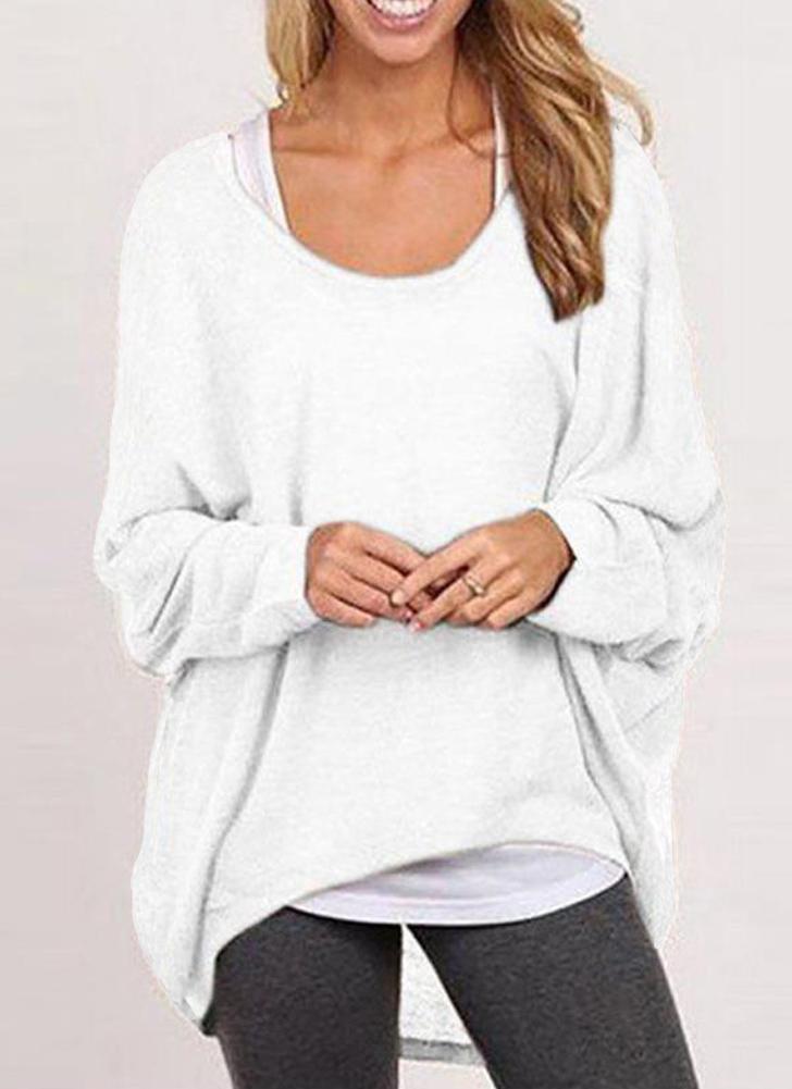 Новая мода женщин блузки O шею Batwing рукавом Hem Повседневная Свободные рубашки